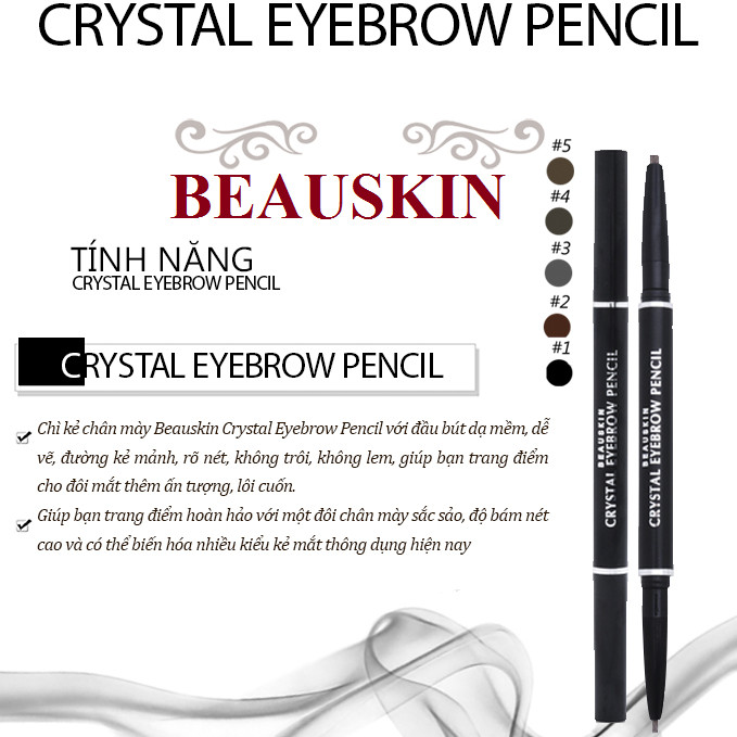 Chì kẻ chân mày Beauskin Crystal Eyebrow Pencil Hàn Quốc #04 Black Brown tặng móc khóa