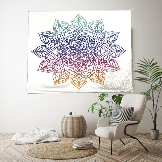 Tranh vải treo tường hoa mandala nền trắng tinh tế