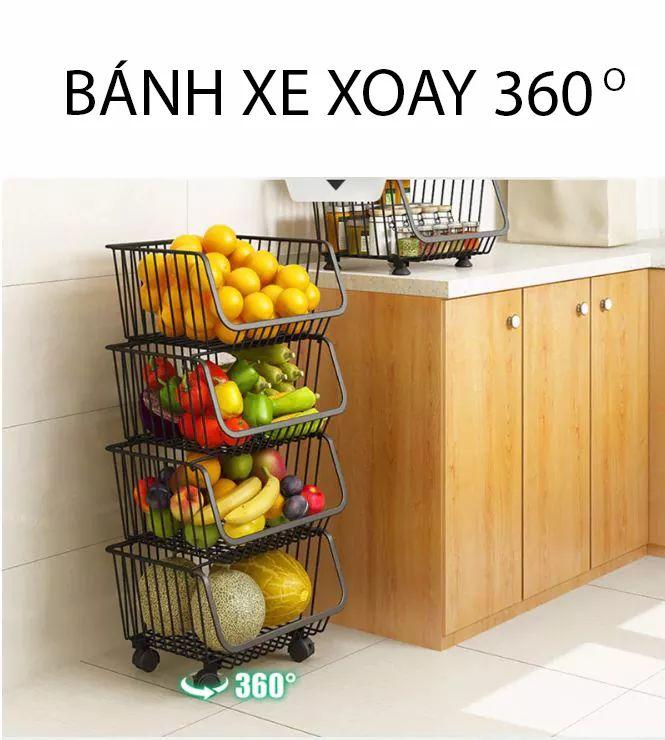 Giỏ đựng quần áo - Giỏ đựng hoa quả KN499-2 (Bộ 2 tầng)
