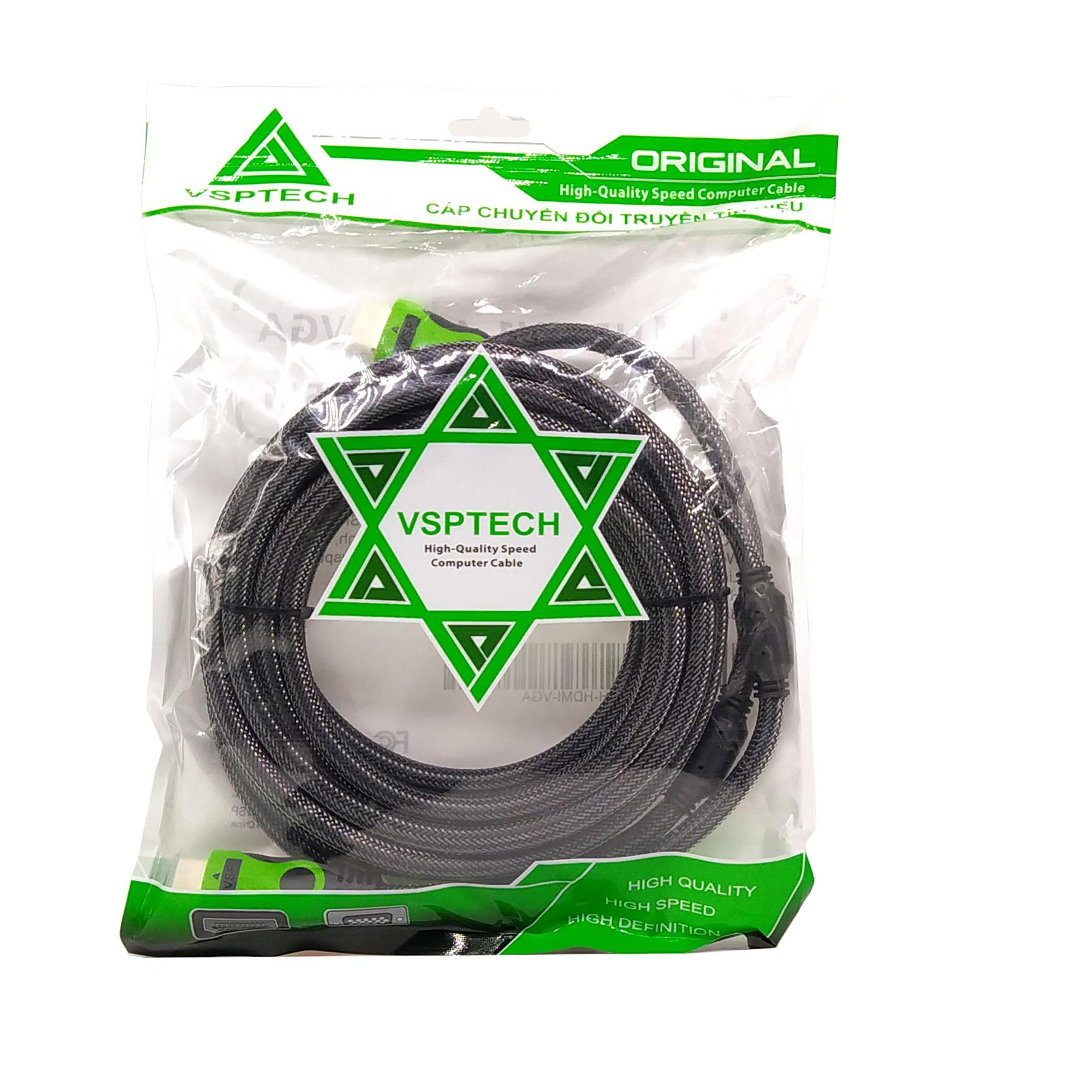 Cáp HDMI VSPTECH (1.4V )dài 15m bọc lưới đen- Hàng chính hãng