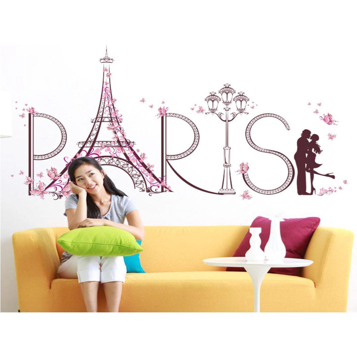 Decal dán tường trang trí phòng khách, phòng cưới- Tháp paris tình yêu-mã sp SK9007