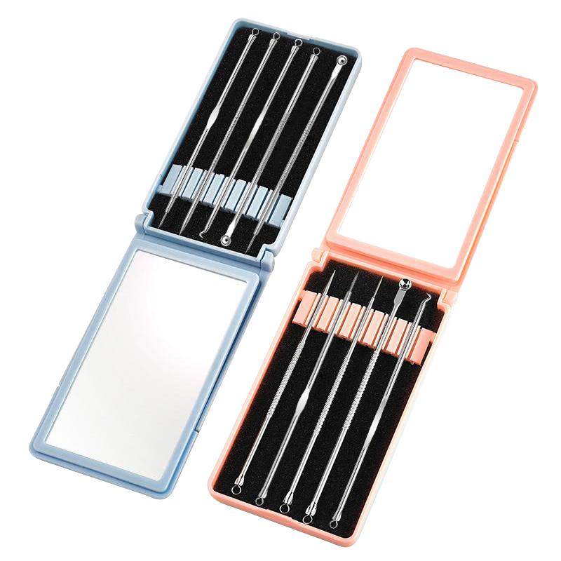 Combo dụng cụ lấy mụn và nhíp có hộp gương tiện dụng
