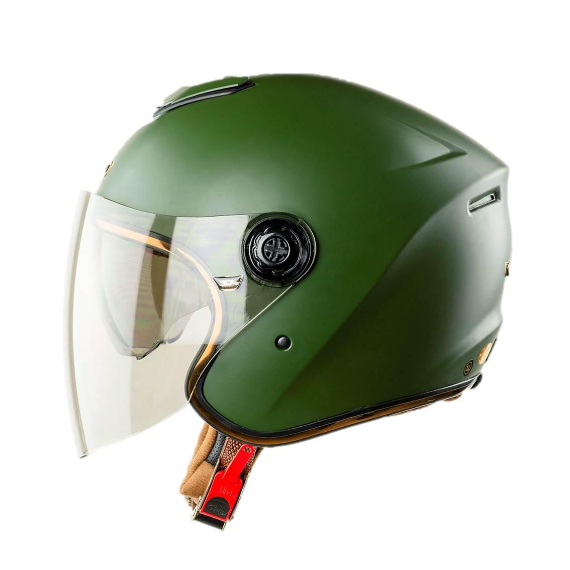 Mũ bảo hiểm phượt ¾ đầu Napoli N125 Màu Xanh Rêu Hai Kính đi được cả ngày và đêm - Free size 57 - 60cm