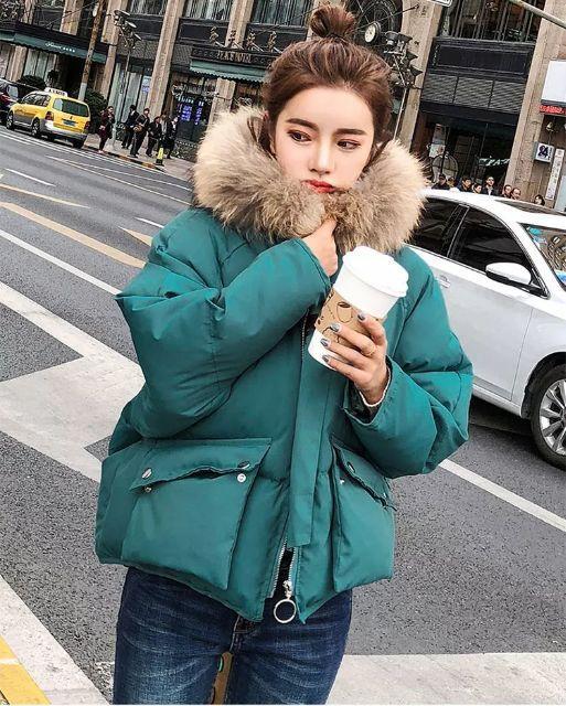 Áo phao béo 2 túi cổ lông xuất khẩu (loại lông thật)