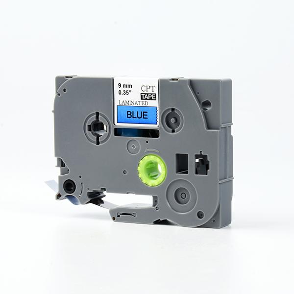 Tape nhãn in tương thích CPT-521 dùng cho máy in nhãn Brother P-Touch (chữ đen nền xanh dương, 9mm)