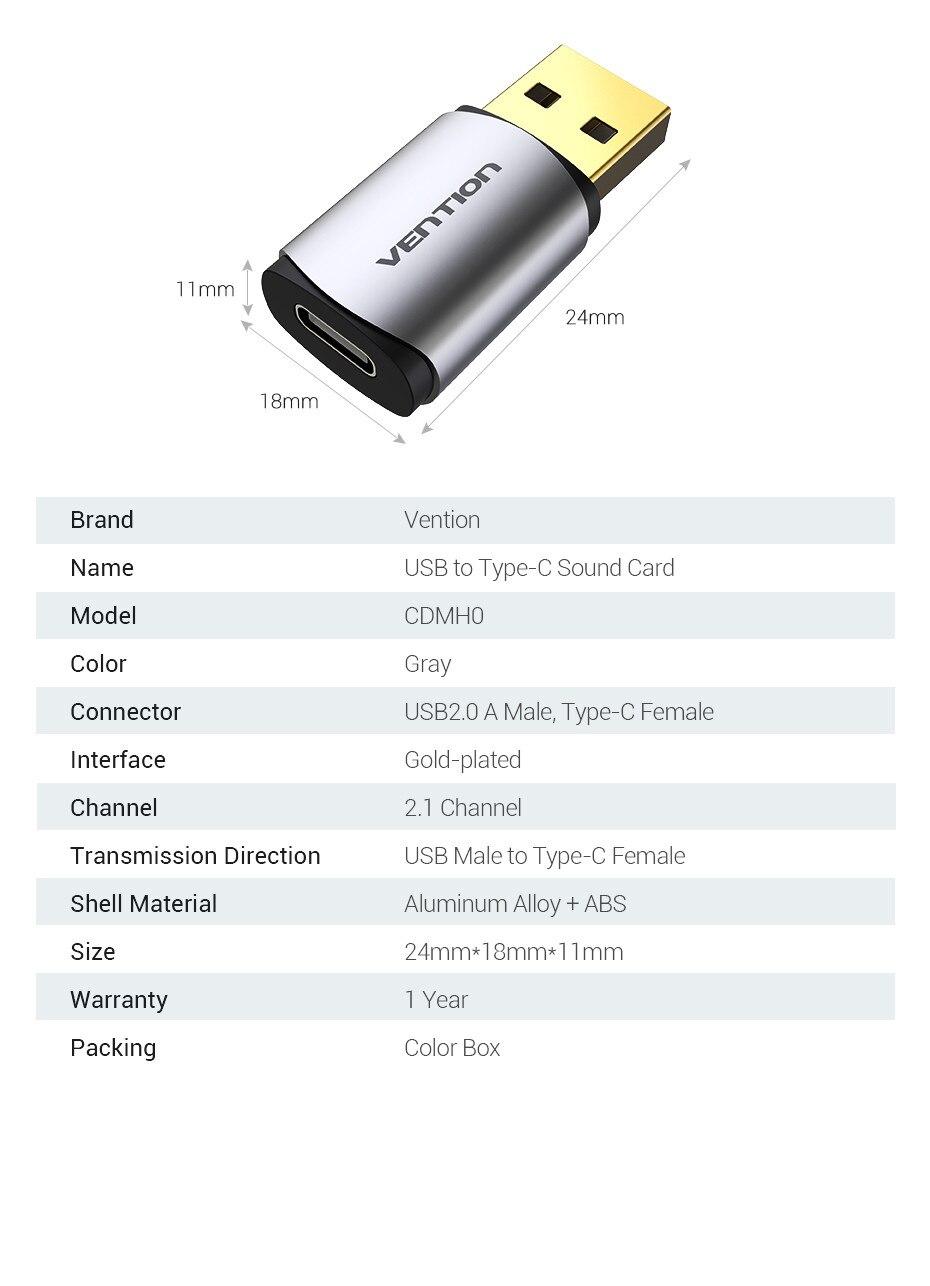 Đầu chuyển đổi USB 2.0 sang cổng Type-c Vention CDMH0 - Hàng Chính Hãng