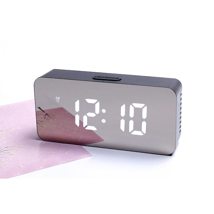 Đồng hồ led mặt gương - Đồng hồ để bàn kiêm đo nhiệt độ