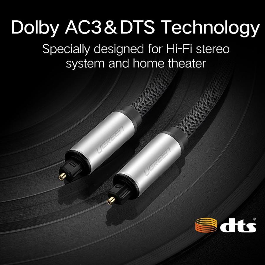 Cáp Audio quang Toslink dài 2M Ugreen 10540 vỏ nhôm - Hàng Chính Hãng