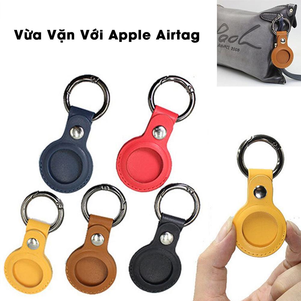 Vỏ Ốp Bao Da Nhiều Màu Kèm Móc Hở 1 Mặt Bảo Vệ Cho Apple Airtag - thiết bị định vị, chống trộm - Hàng Chính Hãng