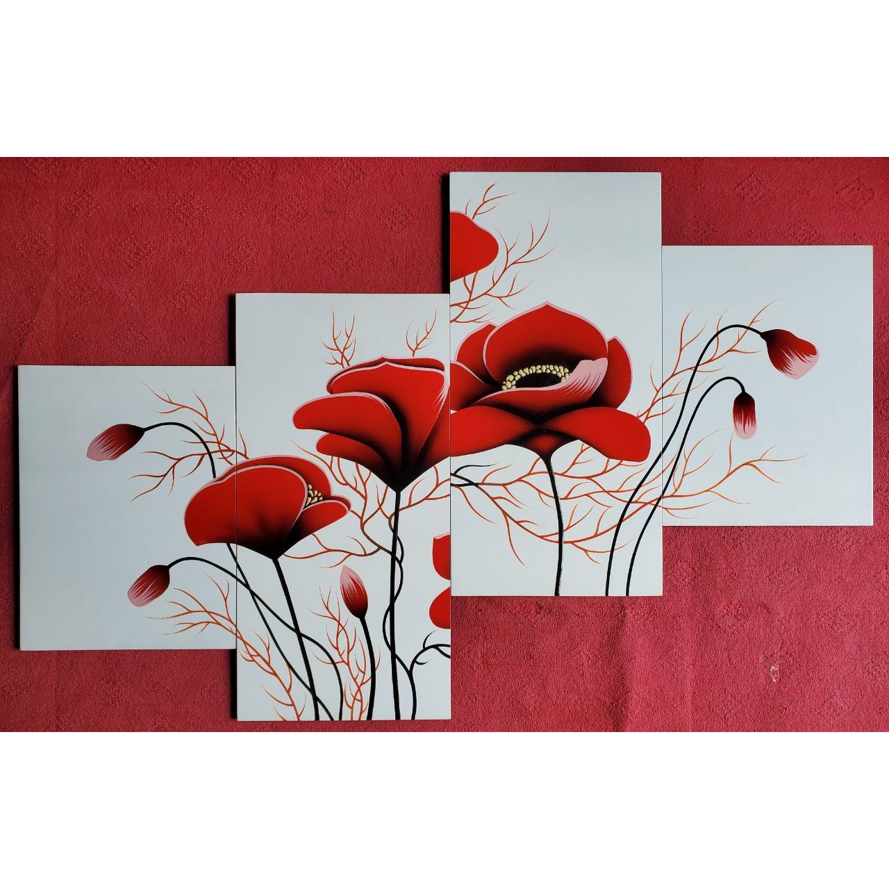 Tranh bộ hoa hiện đài sơn mài-HD009