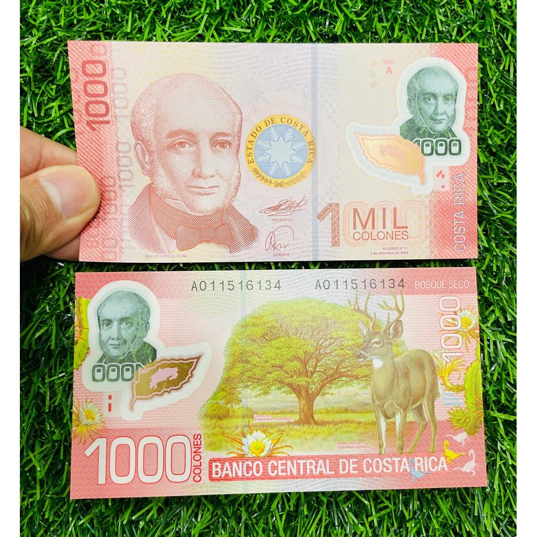 Tiền Costa Rica 1000 Colones, bằng polyme, hình con nai châu Mỹ, màu đỏ tuyệt đẹp, mới 100% UNC, tặng túi nilon bảo quản
