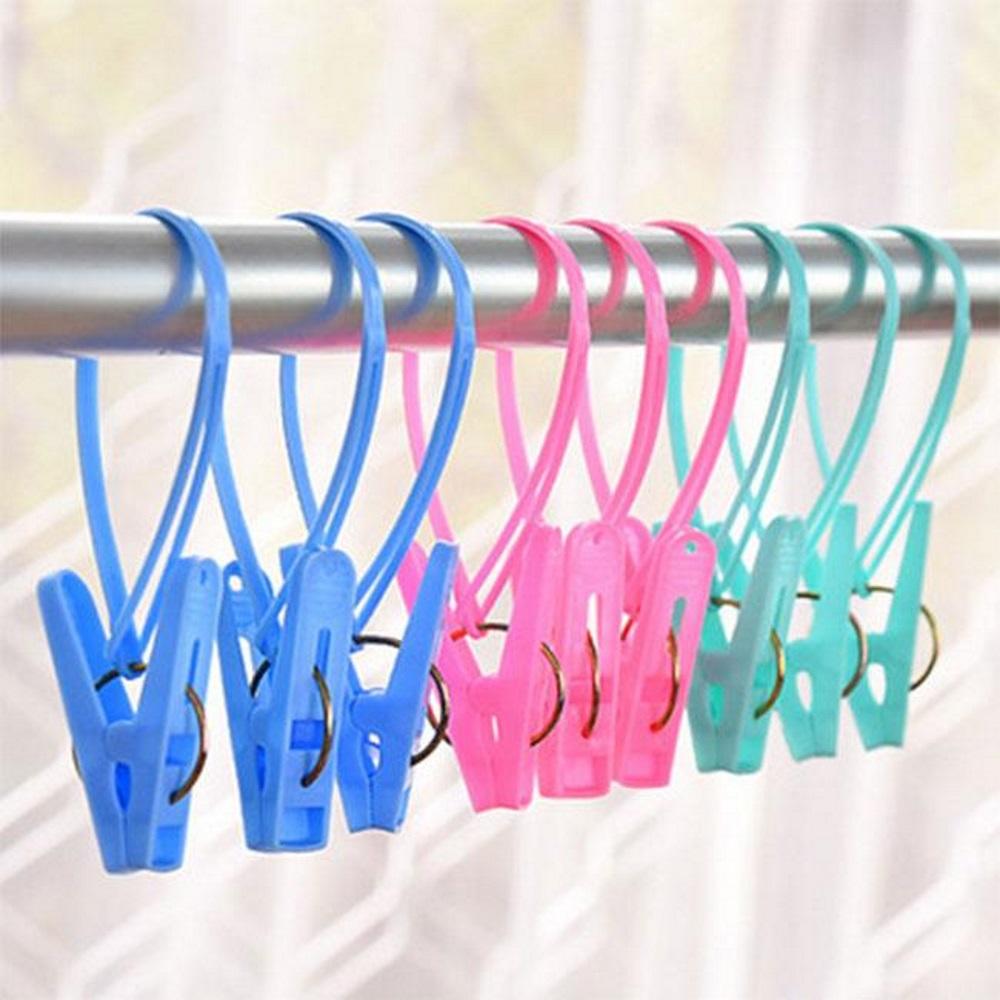 Set 15 kẹp quần áo có thiết kế dây treo có thể lồng kẹp qua dây phơi sào phơi tiện dụng tặng 2 zipper 10cm
