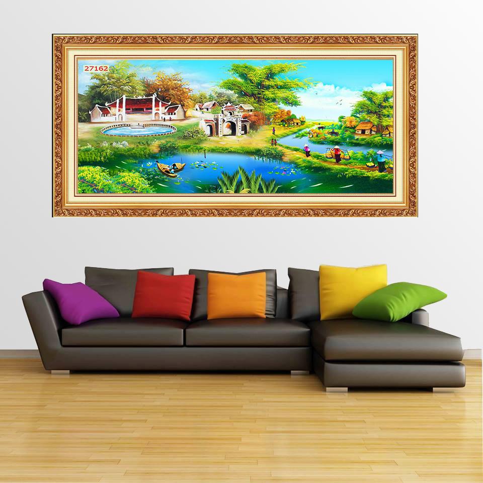 Tranh Quê Hương - Tranh treo tường quê hương - Tranh treo tường phòng khách đẹp nhất - Tranh treo phòng khách hiện đại sang trọng 001