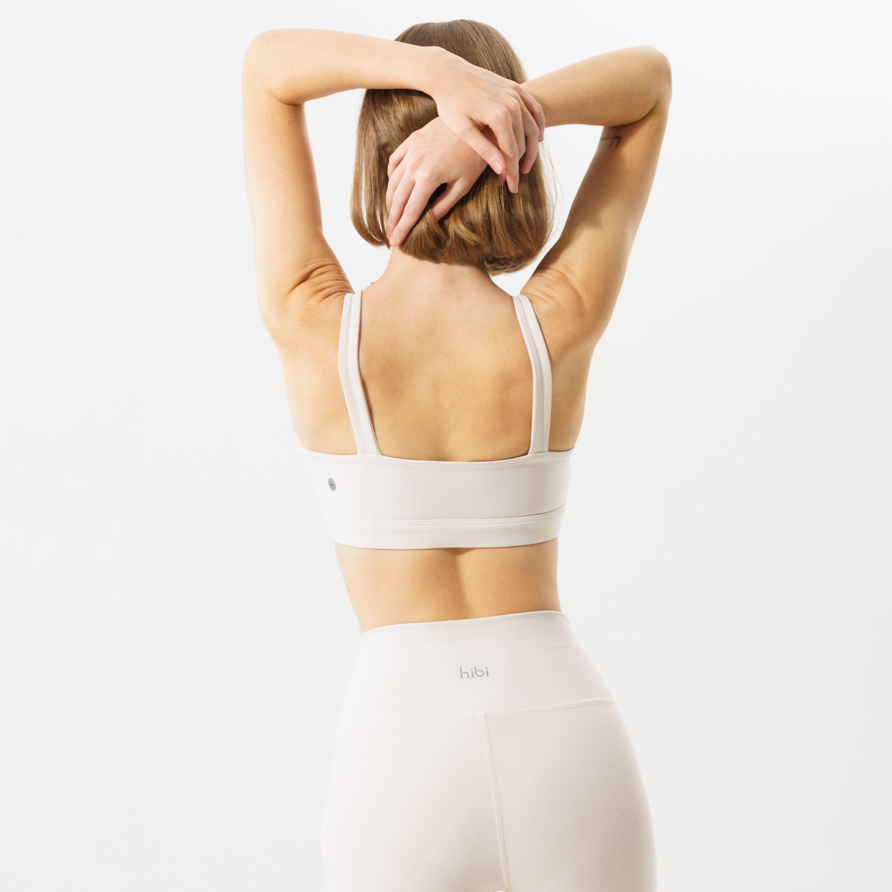 Set đồ tập Yoga Luxury Hibi Sports H129 [Ivory + Blue] - Áo 2 dây bản to - Kèm mút nâng ngực