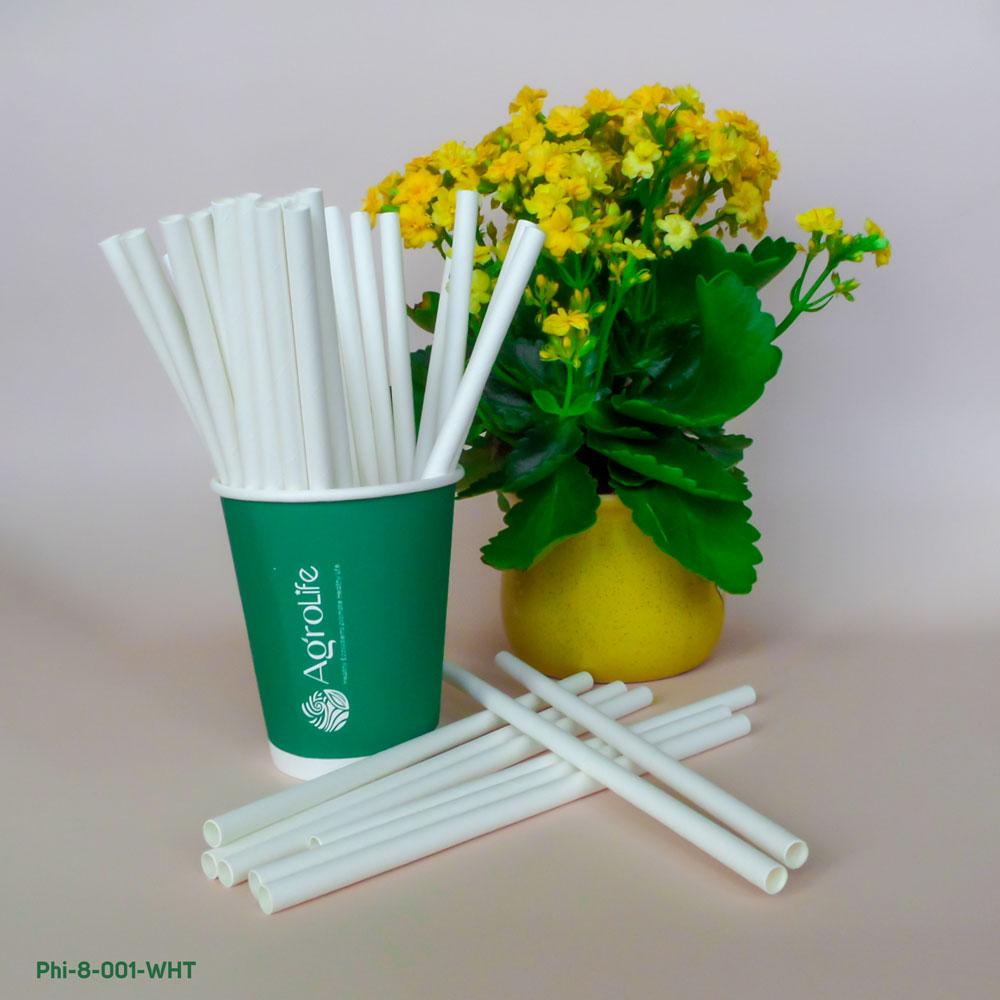 [AgroLife] Hộp 500 ống hút giấy từ sợi mía phi 8mm không cắt xéo - Ống hút sợi mía 100% từ thiên nhiên bảo vệ môi trường - An toàn cho sức khoẻ người dùng
