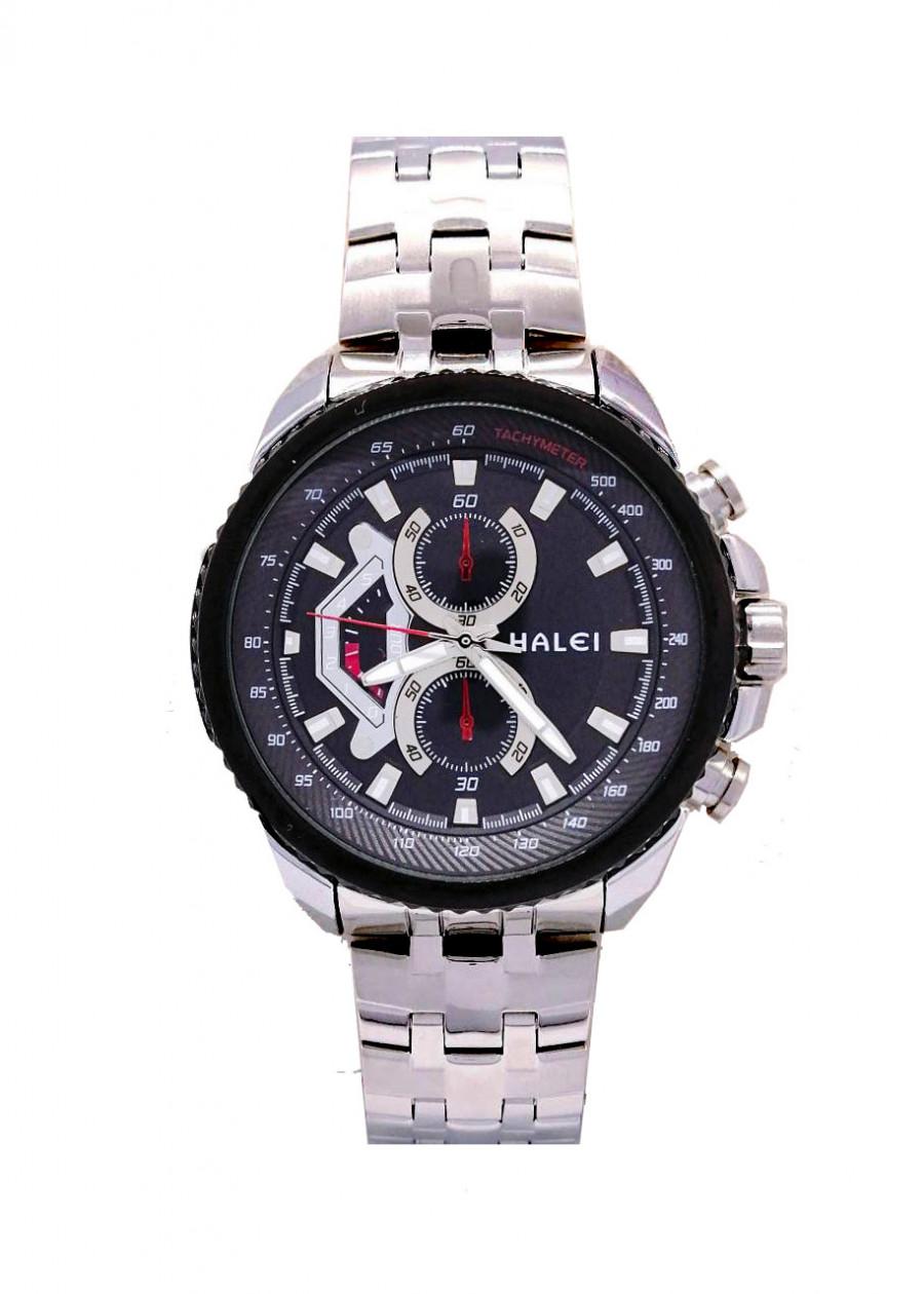 Đồng hồ Nam Halei - HL3049 Dây trắng (Tặng pin Nhật sẵn trong đồng hồ + Móc Khóa gỗ Đồng hồ 888 y hình + Hộp Chính Hãng)