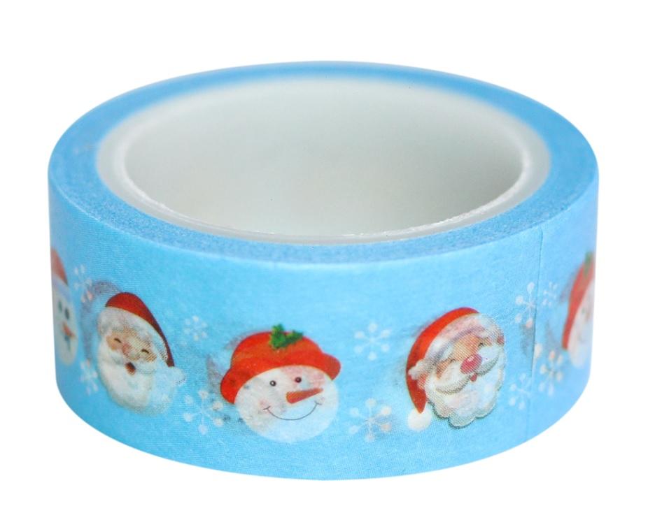 Combo 3 Cuộn Băng Keo Giấy Trang Trí Washi Tape Chủ Đề Giáng Sinh - Xanh Nhạt