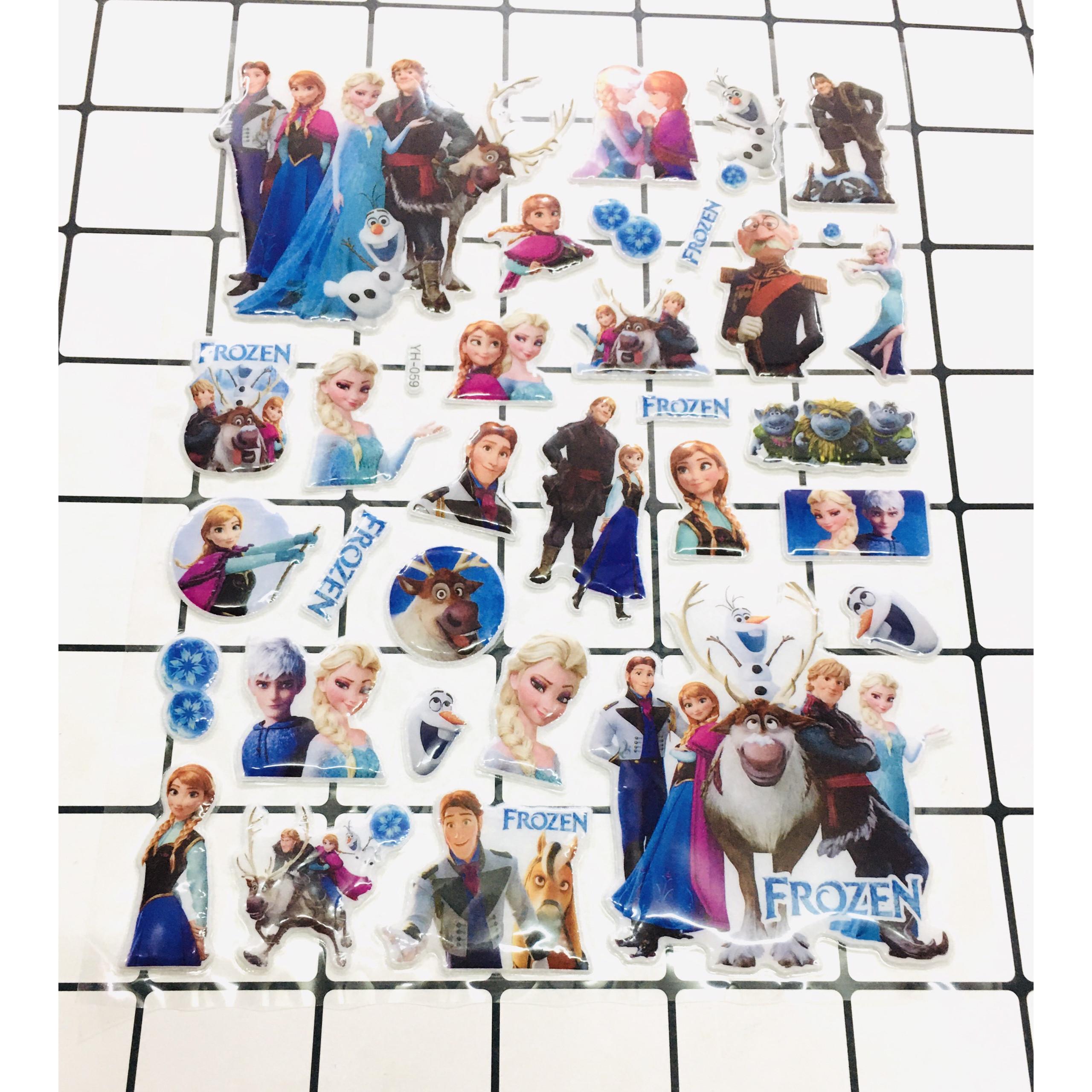 Set 2 bảng Sticker hình dán Elsa, công chúa, bé gái Nổi 3D