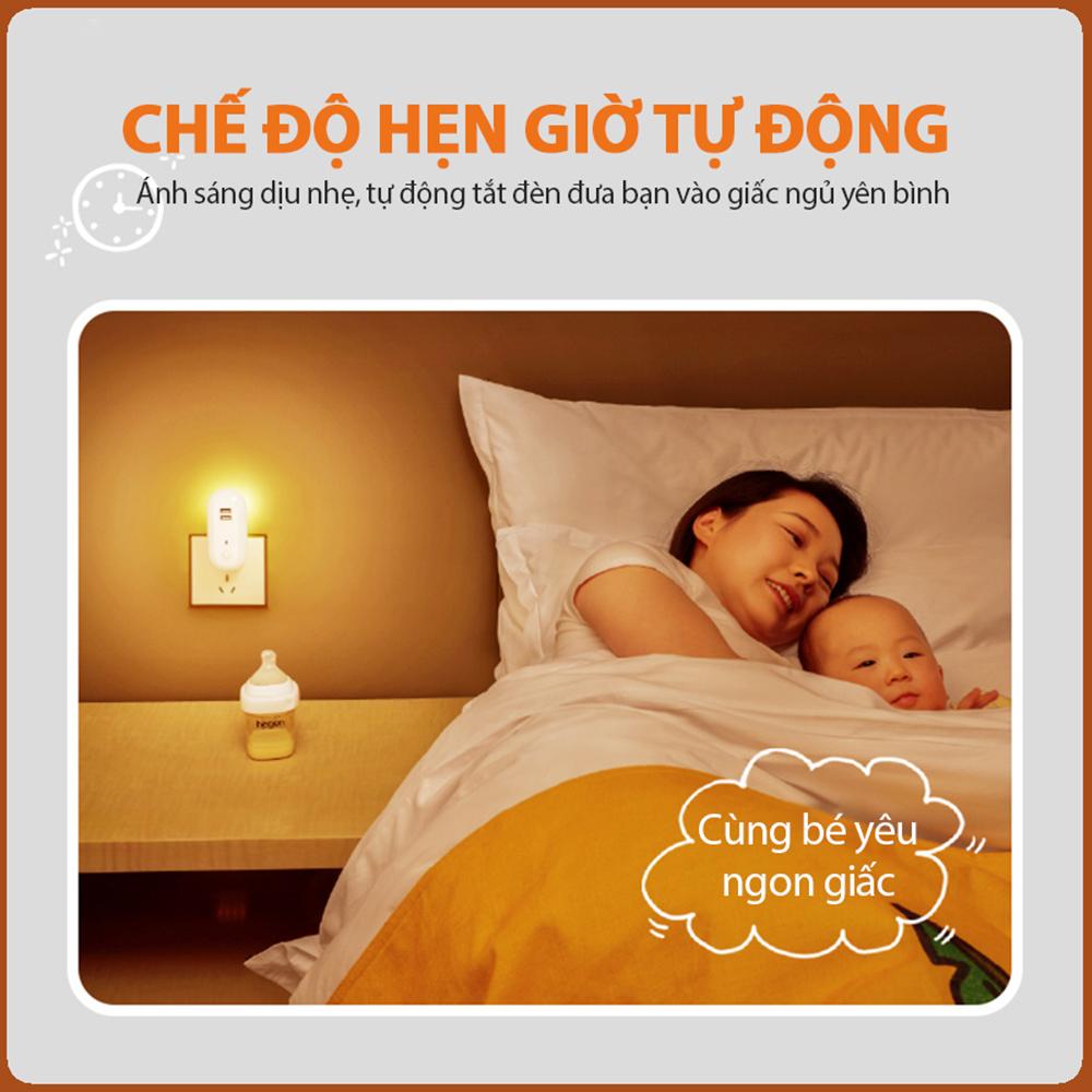 Đèn ngủ Oval cắm điện 10 cấp độ sáng có remote - đèn ngủ thông minh - hẹn giờ - 2 cổng USB sạc nhanh mới 2021