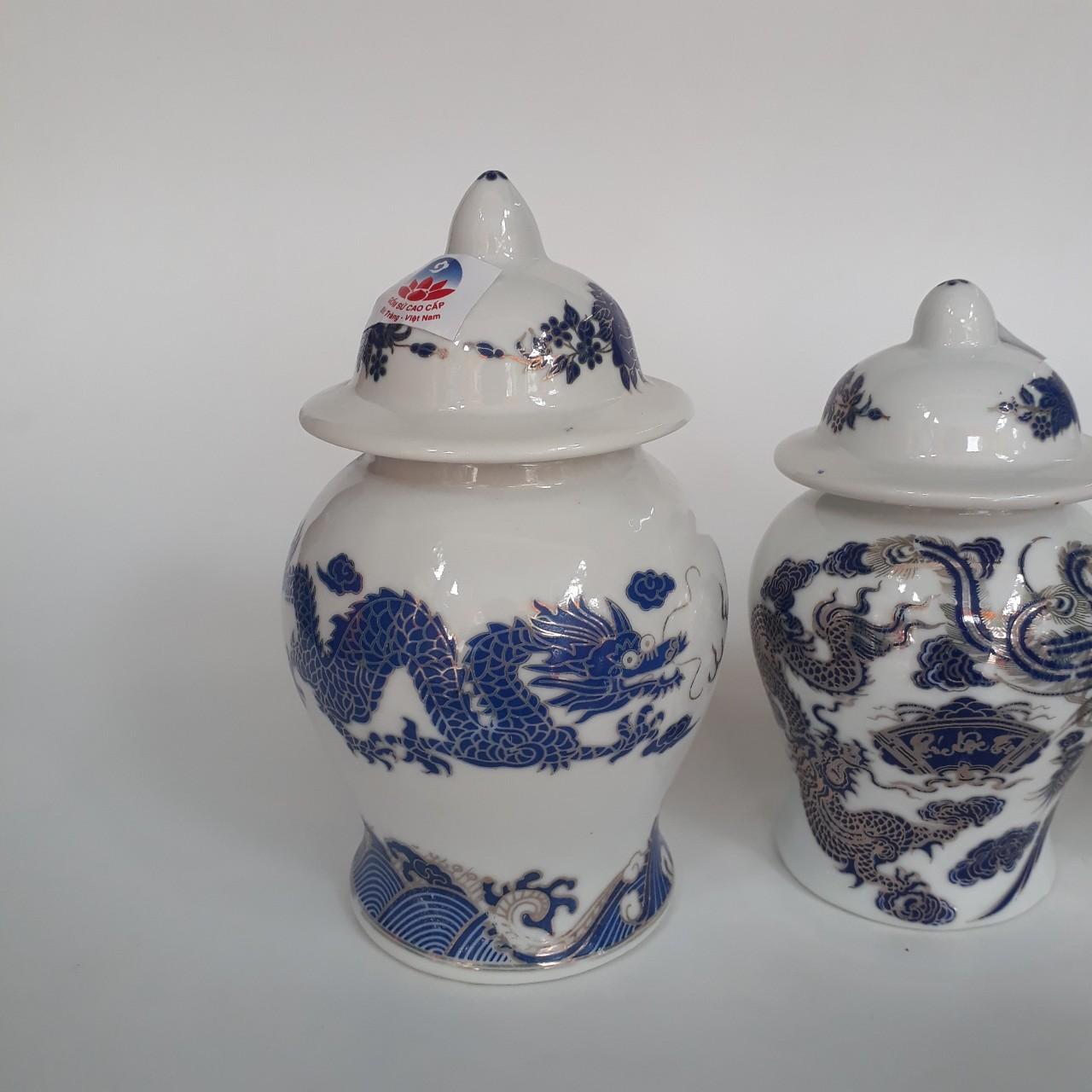 Bộ 2 chóe đồ thờ đựng gạo, muối- hũ đựng muối, gạo dành cho ban thờ thần tài, gia tiên- xanh kim