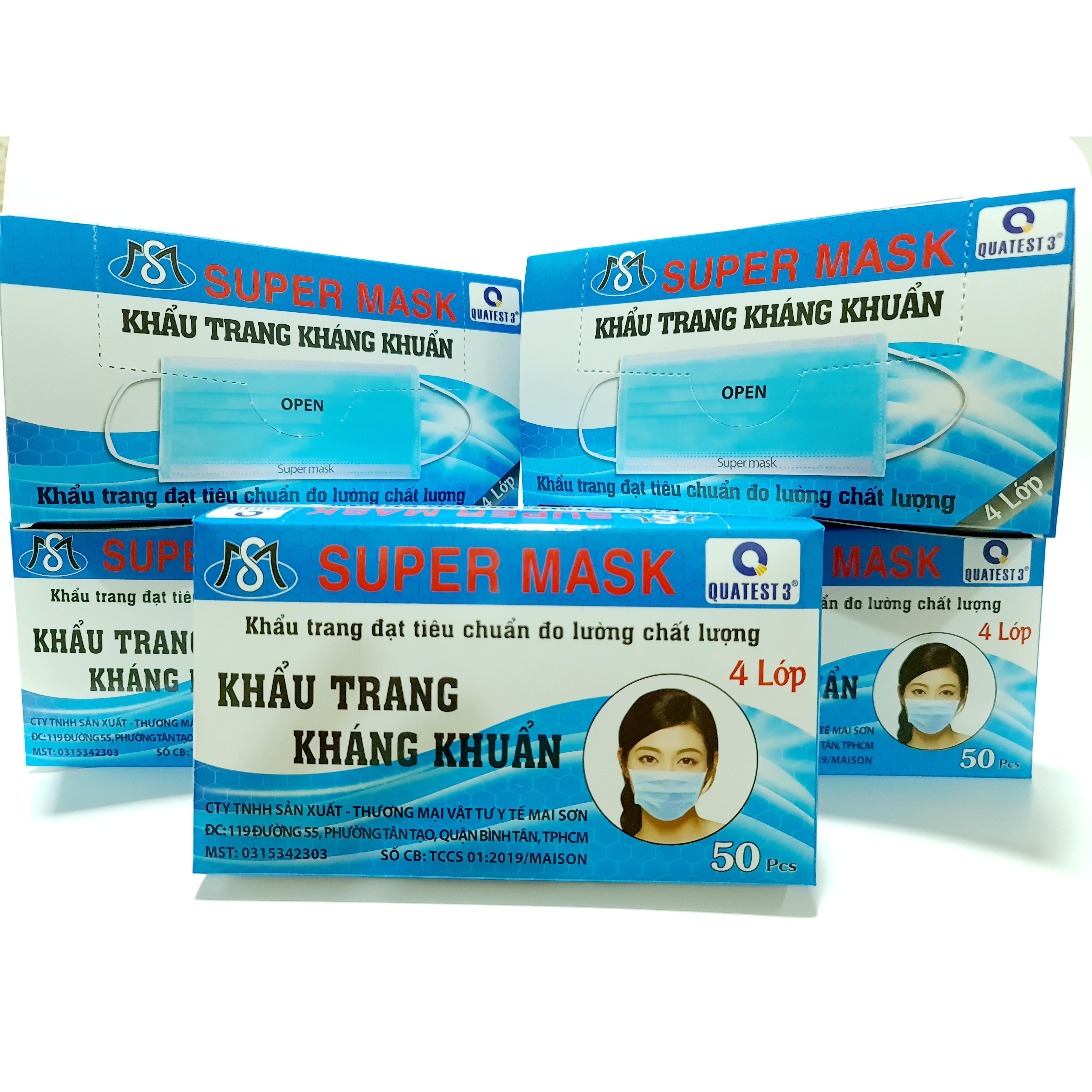 Combo 05 hộp khẩu trang y tế kháng khuẩn Super Mask ( 04 lớp, hộp 50 cái)