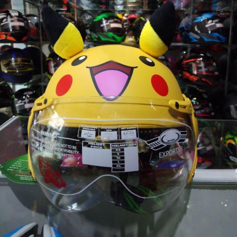 Mũ bảo hiểm bảo vệ đầu trẻ em có kính chống bụi cho bé Pikachu vàng có tai siêu dễ thương