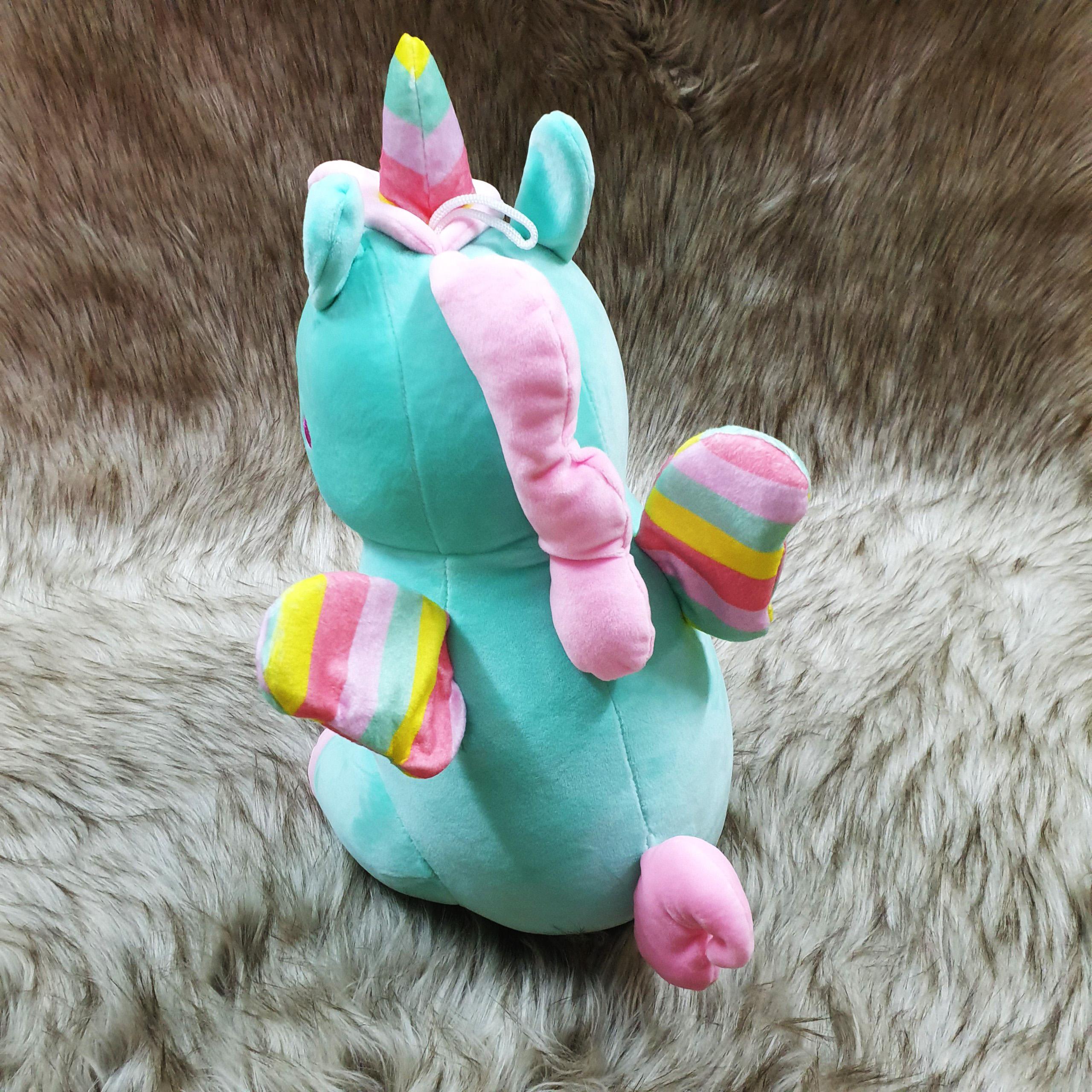 Gấu bông kỳ lân unicorn size 40cm màu xanh ngọc