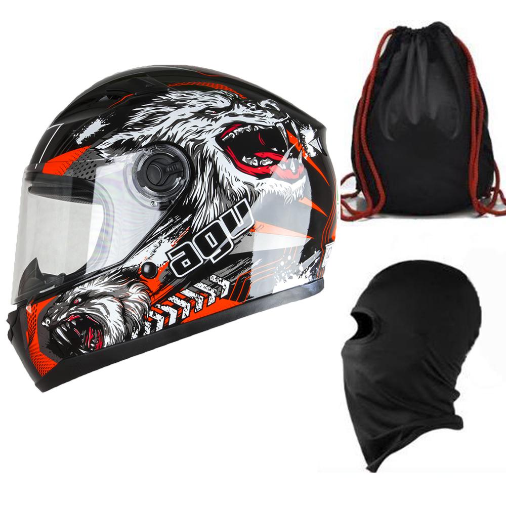 Mũ Bảo Hiểm Đẹp Fullface AGU Tem 39 Sói + Khăn Ninja + Tặng kèm túi đựng nón chống trầy