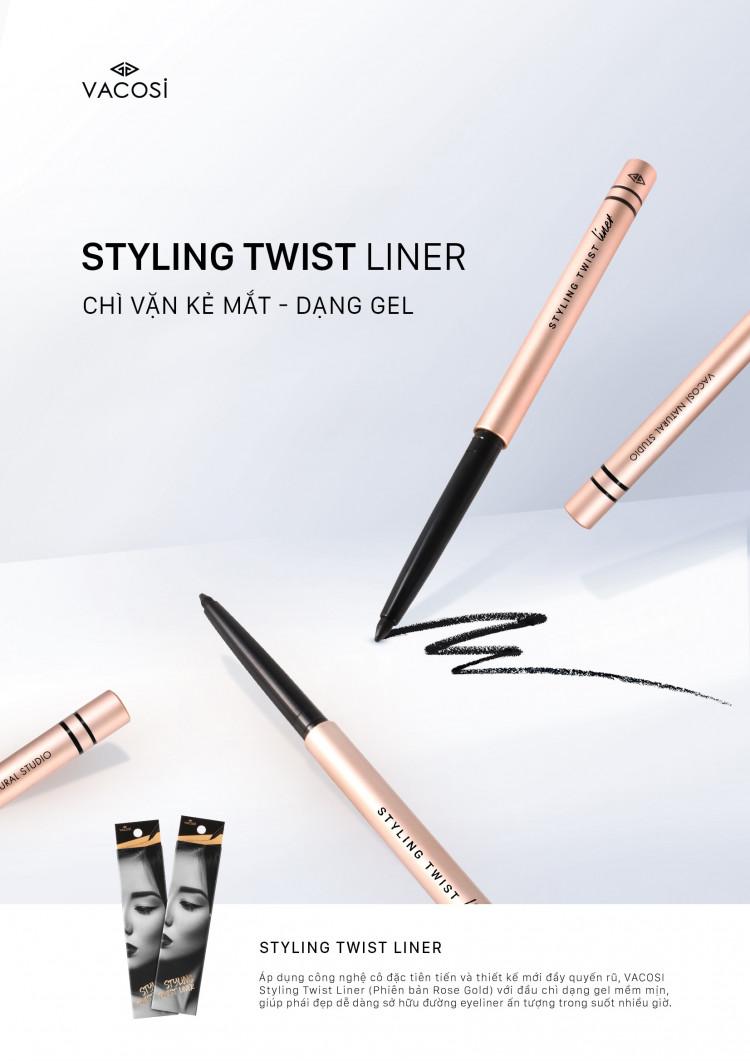 Chì kẻ mắt dạng gel Vacosi Styling Styling Twist Liner 2