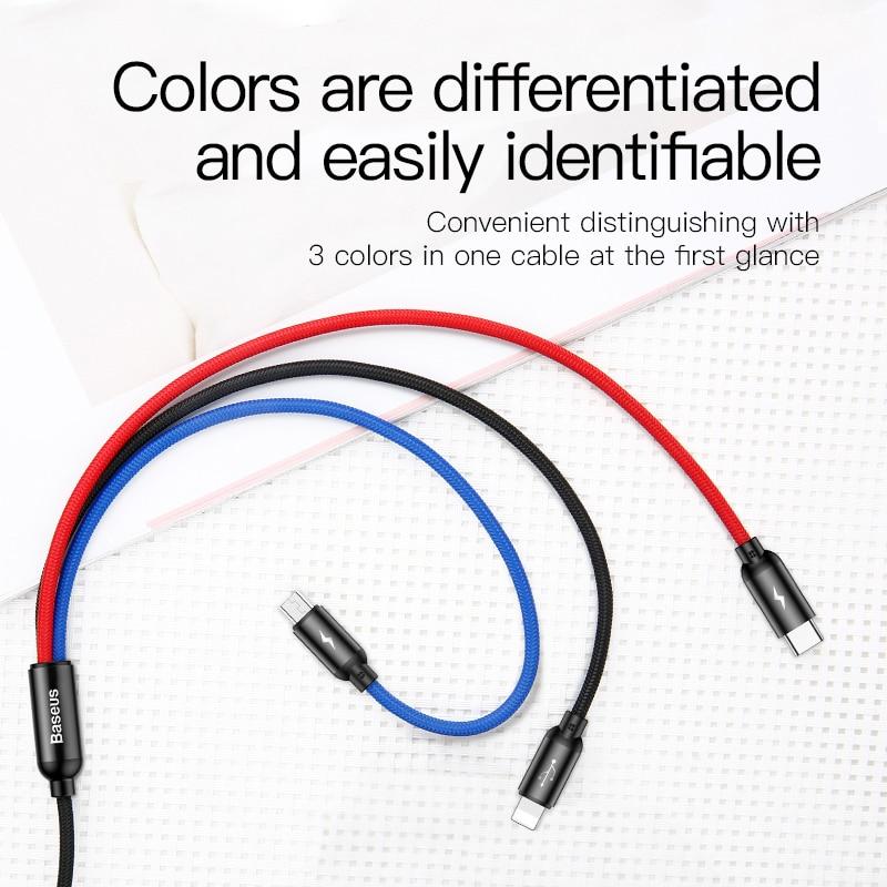 Cáp sạc 3 màu 3 IN 1 (iPhone+Type-C+Micro) Baseus Three Primary Colors 30cm - Hàng chính hãng
