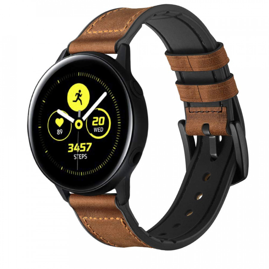 Dây da Hybrid Size 20 cho Galaxy Watch Active, Galaxy Watch 42 Nâu Vàng