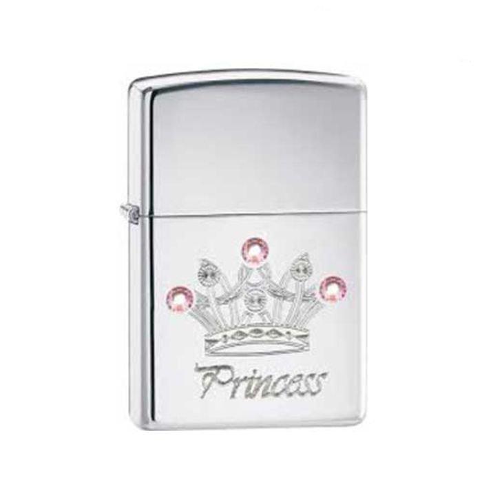 Bật Lửa Zippo Jewelled Princess High Polish Chrome Chính Hãng Usa