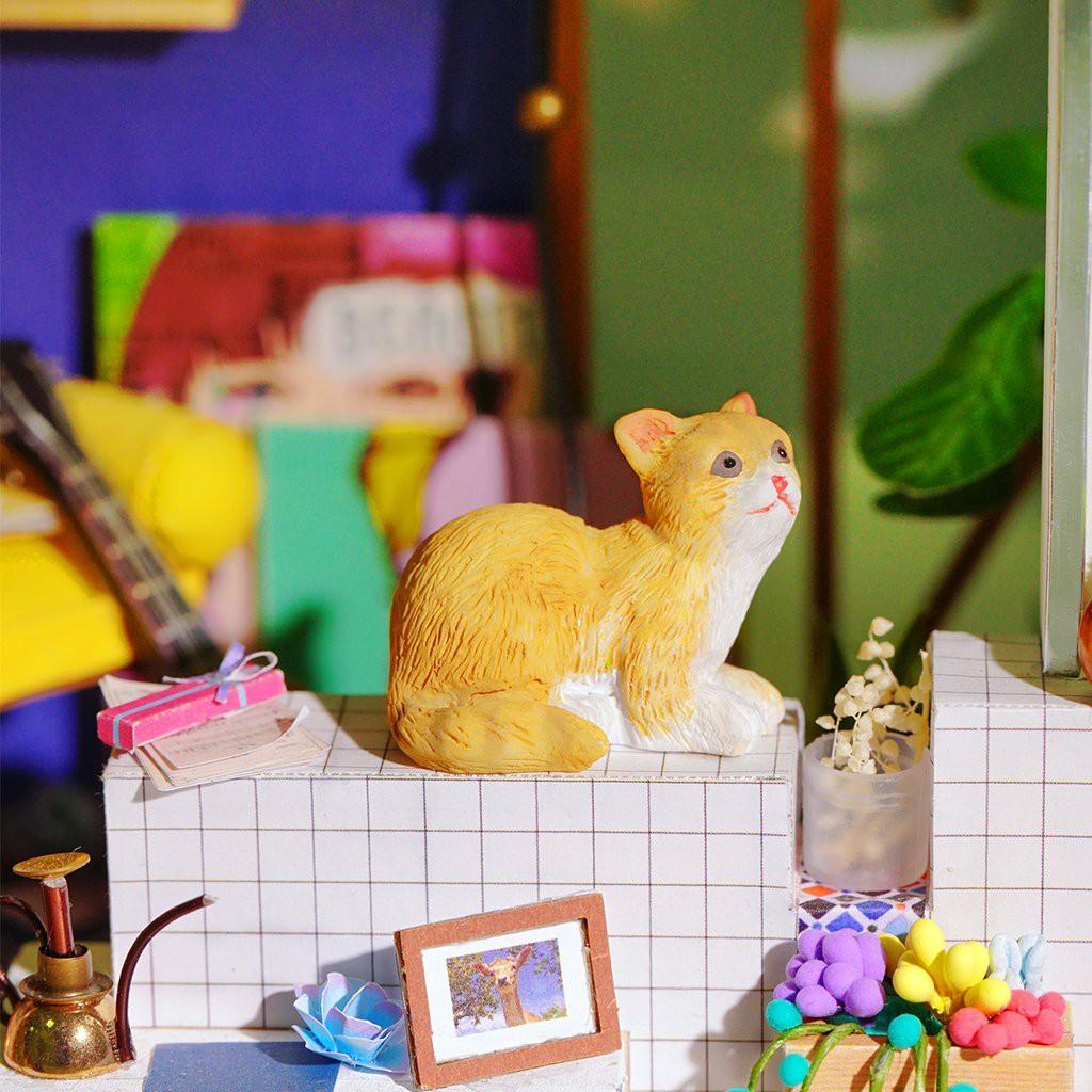 Mô hình nhà DIY Doll House Corner Of Happiness Kèm Đèn LED và Mica chống bụi