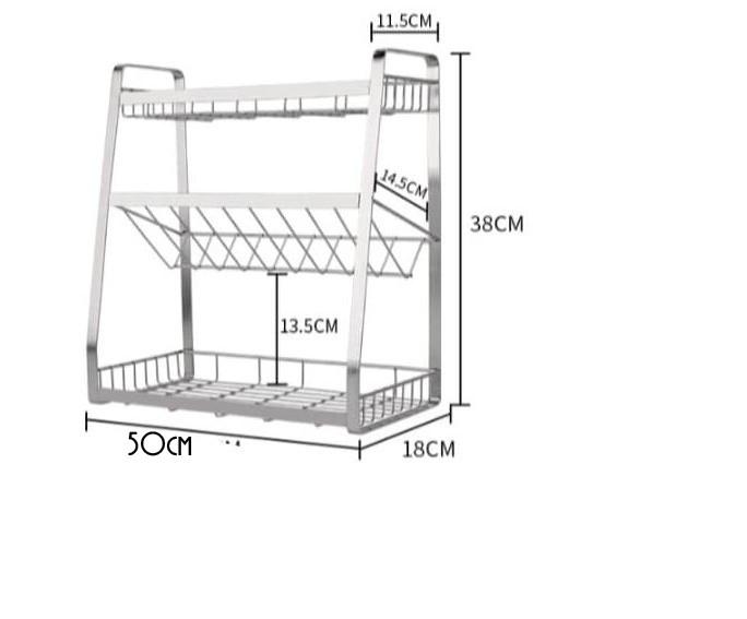 Kệ gia vị nhà bếp cao cấp INOX 304 láp 5ly - kích thước ngang 50cm