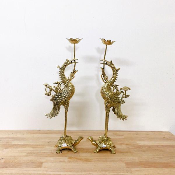 Đôi hạc thờ đồng vàng bóng mạ