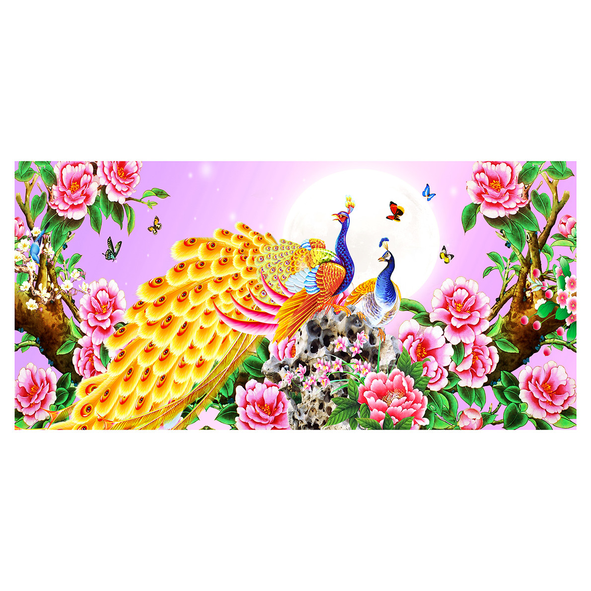 Tranh dán tường Đôi Chim Công bên Hoa Mẫu Đơn KT 115 x 55 cm