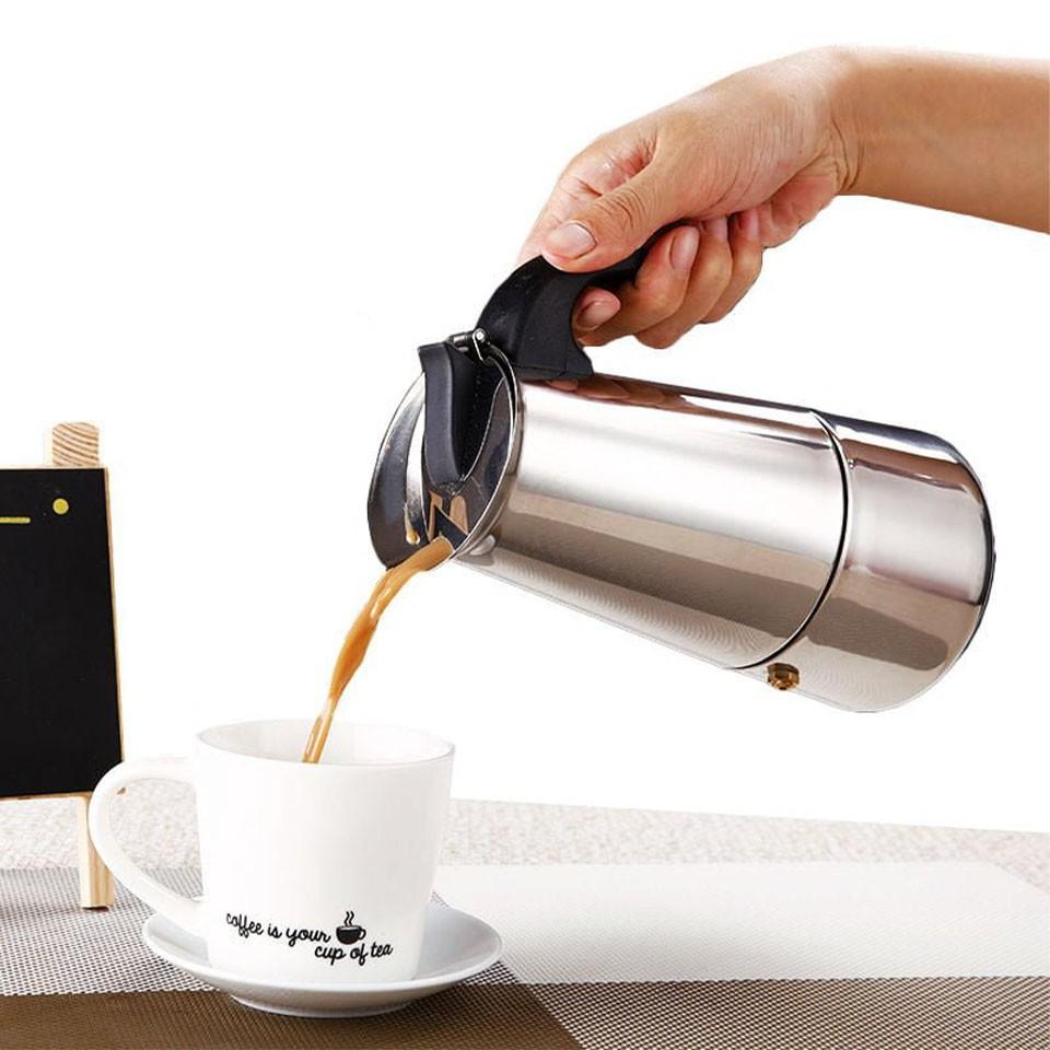 Ấm pha cà phê Moka Express Inox - sử dụng được trên bếp từ