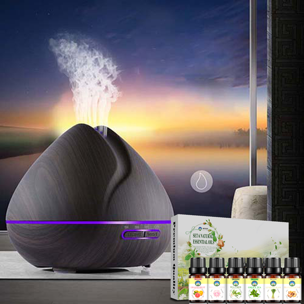 Máy khuếch tán xông tinh dầu phun sương tạo ẩm làm đèn ngủ công suất mạnh búp sen - Tặng kèm set 6 tinh dầu thiên nhiên nhập khẩu