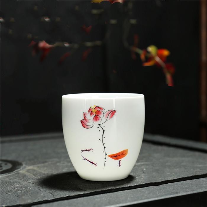 Combo 6 chén sứ uống trà cảnh đức 011 – Sen Vàng
