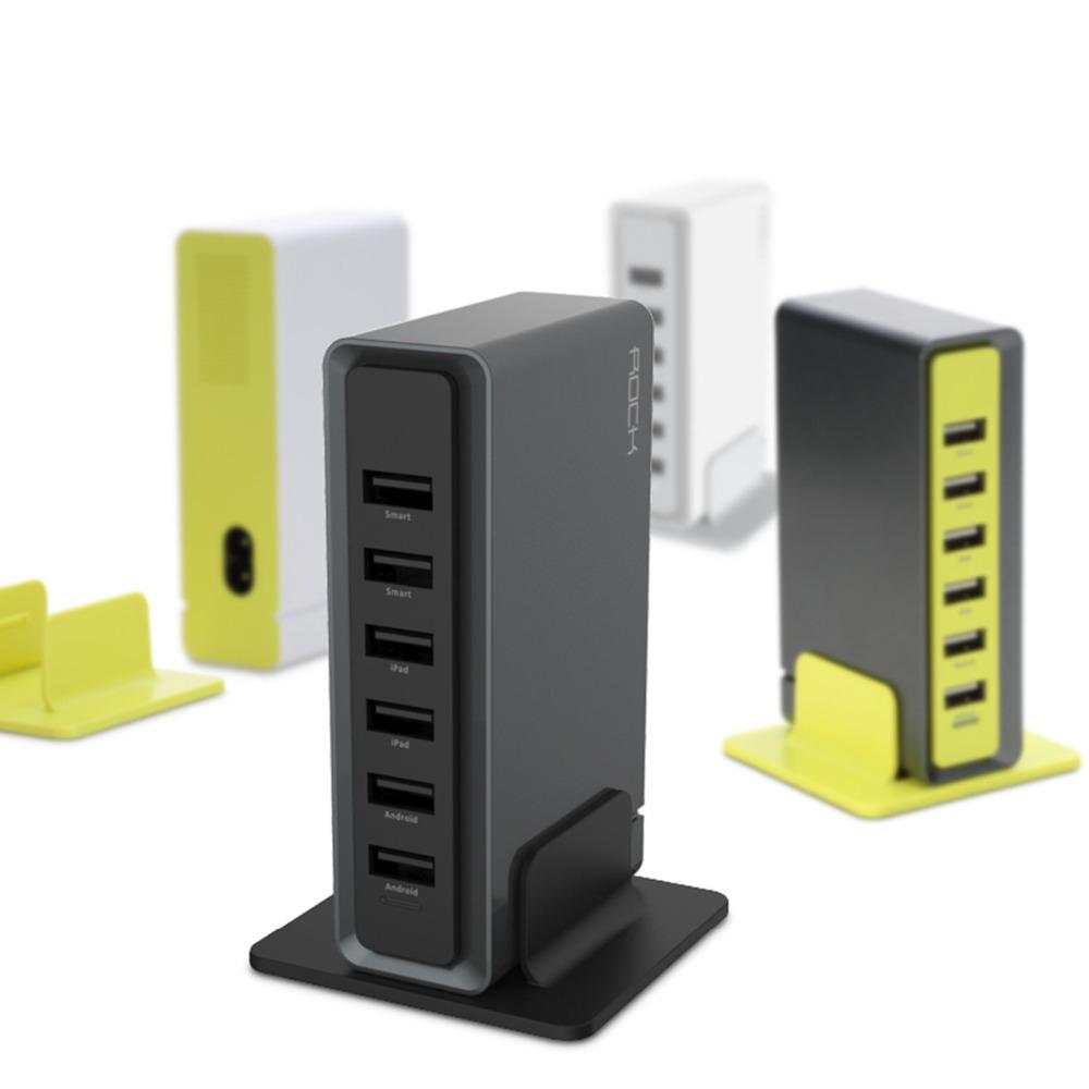 Adapter Sạc Để Bàn Rock 6 Cổng USB - RWC0202 - Hàng Chính Hãng