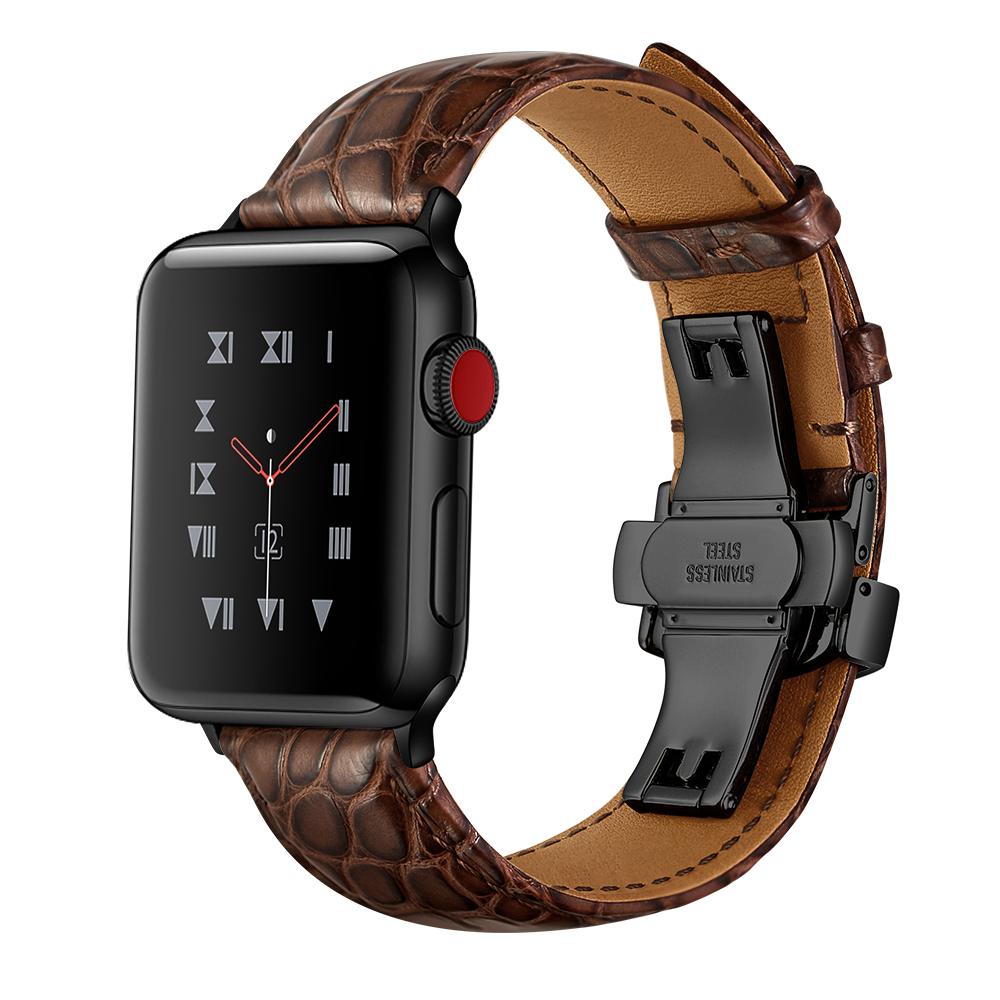 Dây Da Cá Sấu France Khóa Bướm Chống Gãy dành cho Apple Watch 42/44mm