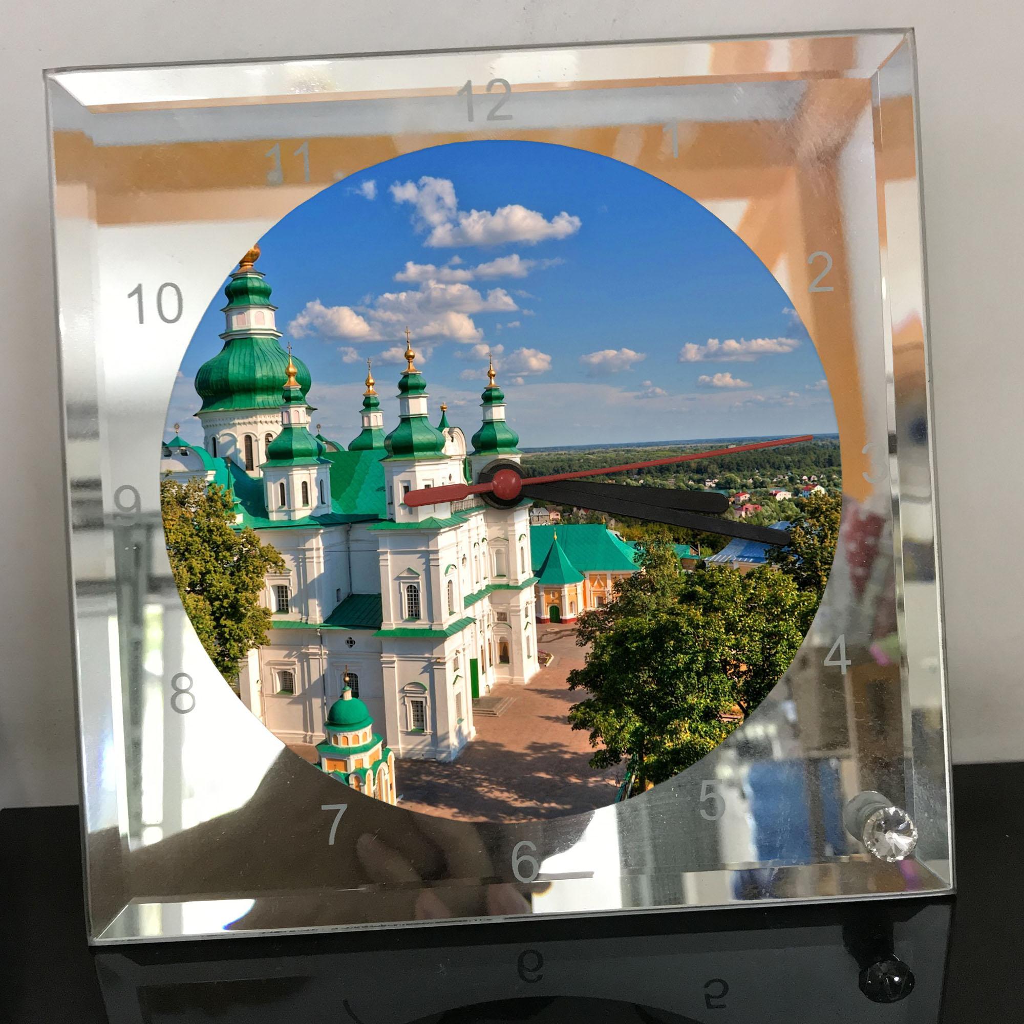 Đồng hồ thủy tinh vuông 20x20 in hình Cathedral - nhà thờ chính tòa (41) . Đồng hồ thủy tinh để bàn trang trí đẹp chủ đề tôn giáo