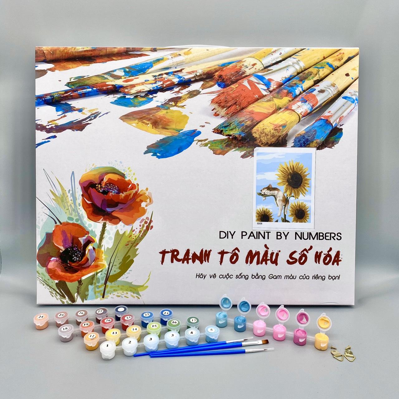 Tranh tô màu sơn dầu số hóa Mã BH0429 Cẩm tú cầu Tranh hoa treo tường trang trí làm quà tặng