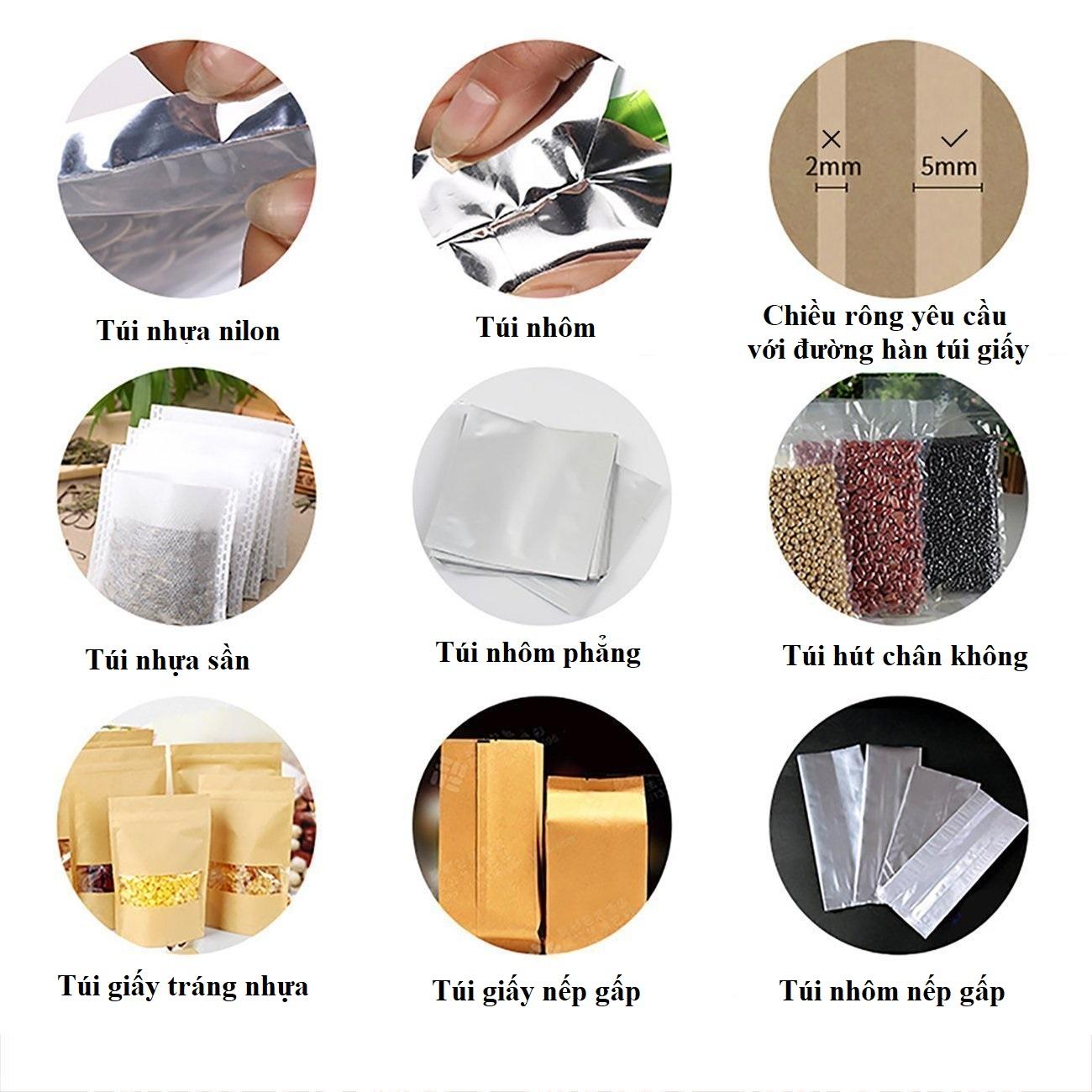 Máy hàn miệng túi dập tay chuyên dụng -  Máy ép miệng túi dùng cho chất liệu nhựa, PP/PE 200x5mm (Vỏ nhựa - Đỏ)