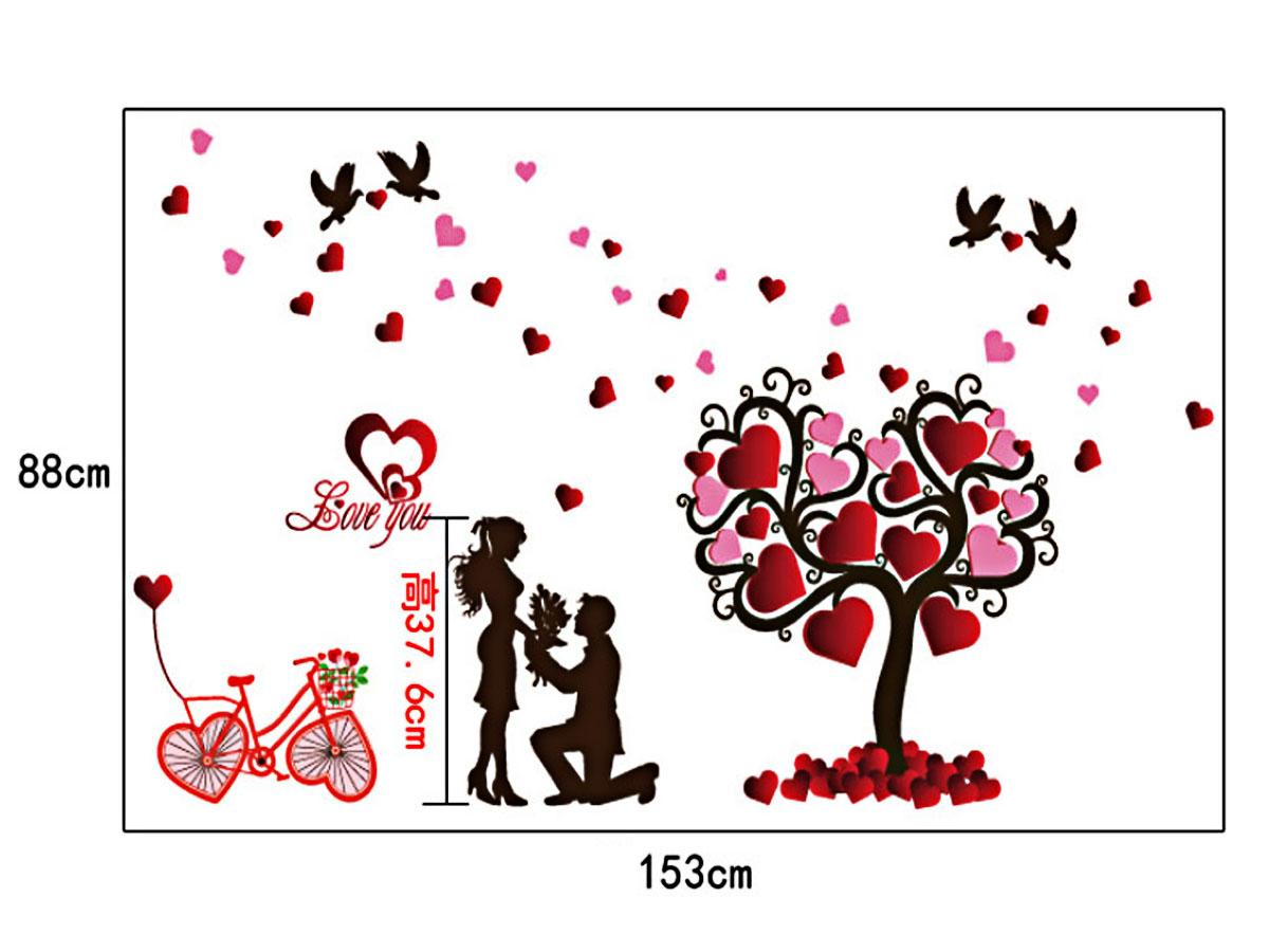 Decal dán tường uyên ương mới và cây trái tim tình yêu