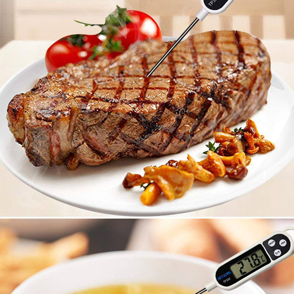 Que Nhiệt Kế Điện Tử Đo Nhiệt Độ Nấu Ăn Pha Sữa Thức Ăn, Thức Uống, Thịt, Cá TP300