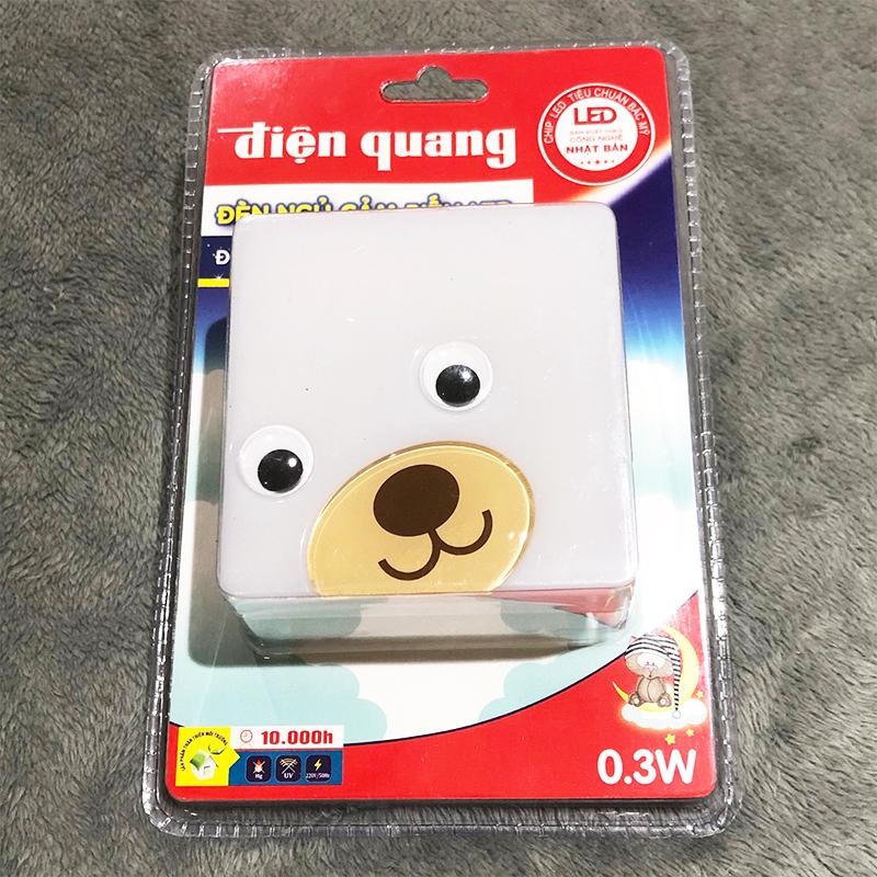 Đèn Ngủ LED Điện Quang ĐQ LNL04 WW (Cảm Biến Quang, con gấu vuông, Ánh Sáng Vàng)