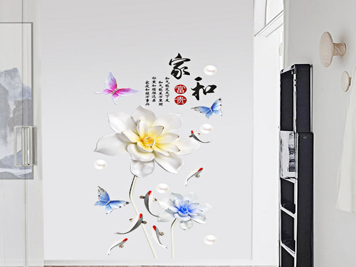 Decal dán tường hoa sen đá trắng GS9656