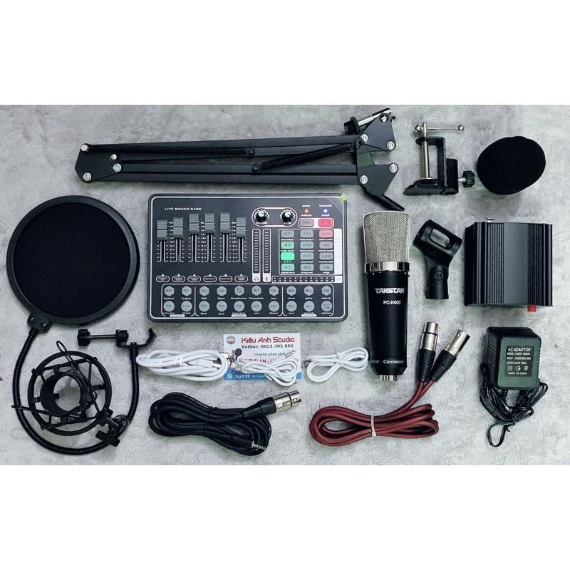 Bộ combo thu âm livestream Mic PC K600 và suondcard H9 autoturn hát max hay