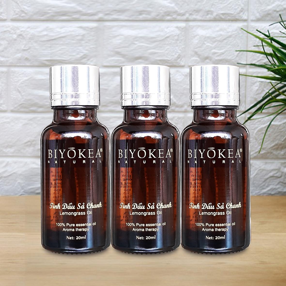 Combo tiết kiệm 3 Chai tinh dầu Sả chanh thiên nhiên Biyokea xông phòng đuổi muỗi, xông khử mùi chai 20ml